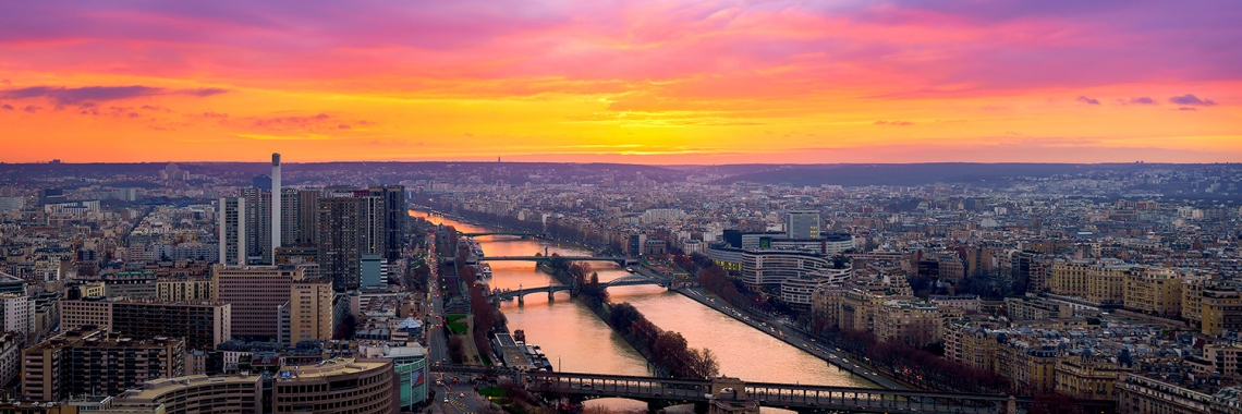 Sunset on the Seine - Paris, France